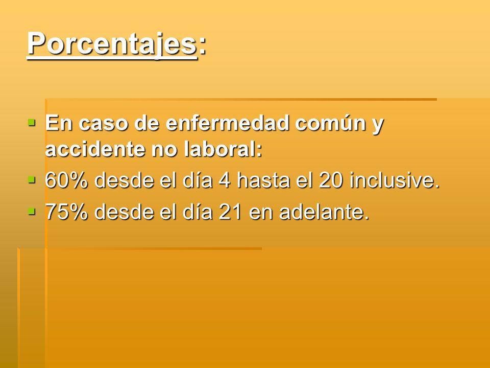 Porcentajes: En caso de enfermedad común y accidente no laboral: En caso de enfermedad común y accidente no laboral: 60% desde el día 4 hasta el 20 in