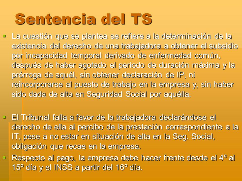 Sentencia del TS La cuestión que se plantea se refiere a la determinación de la existencia del derecho de una trabajadora a obtener el subsidio por in