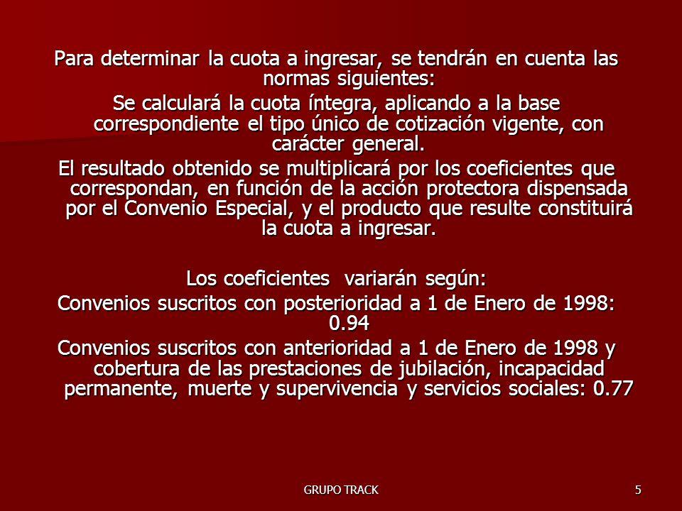 GRUPO TRACK6 Base de cotización 3.074´10 –Contingencias Comunes4´7% –Desempleo1´55% –Formación Profesional0´10% 3.074´1 X 4´7%= 144´48 3.074´1 X 1´55%= 47´65 3.074´1 X 0´10%= 3´07 TOTAL APORTACIONES = 195´20 Convenios suscritos con posterioridad a 1 de Enero de 1998: 0.94Convenios suscritos con posterioridad a 1 de Enero de 1998: 0.94 195´20 X 0´94 = 183´49 / mes