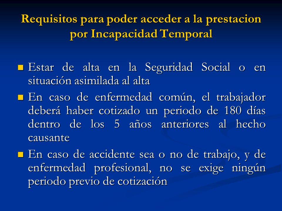 Requisitos para poder acceder a la prestacion por Incapacidad Temporal Estar de alta en la Seguridad Social o en situación asimilada al alta Estar de