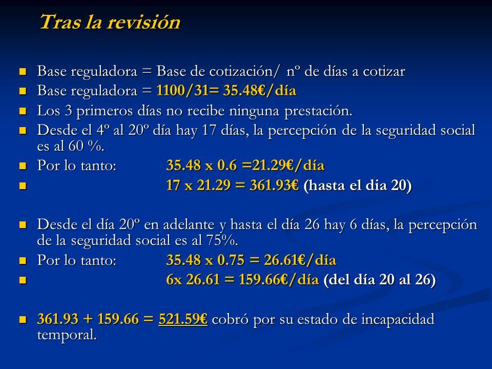Tras la revisión Base reguladora = Base de cotización/ nº de días a cotizar Base reguladora = Base de cotización/ nº de días a cotizar Base reguladora