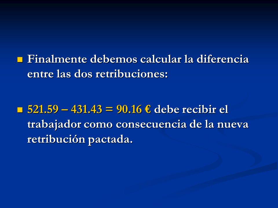 Finalmente debemos calcular la diferencia entre las dos retribuciones: Finalmente debemos calcular la diferencia entre las dos retribuciones: 521.59 –