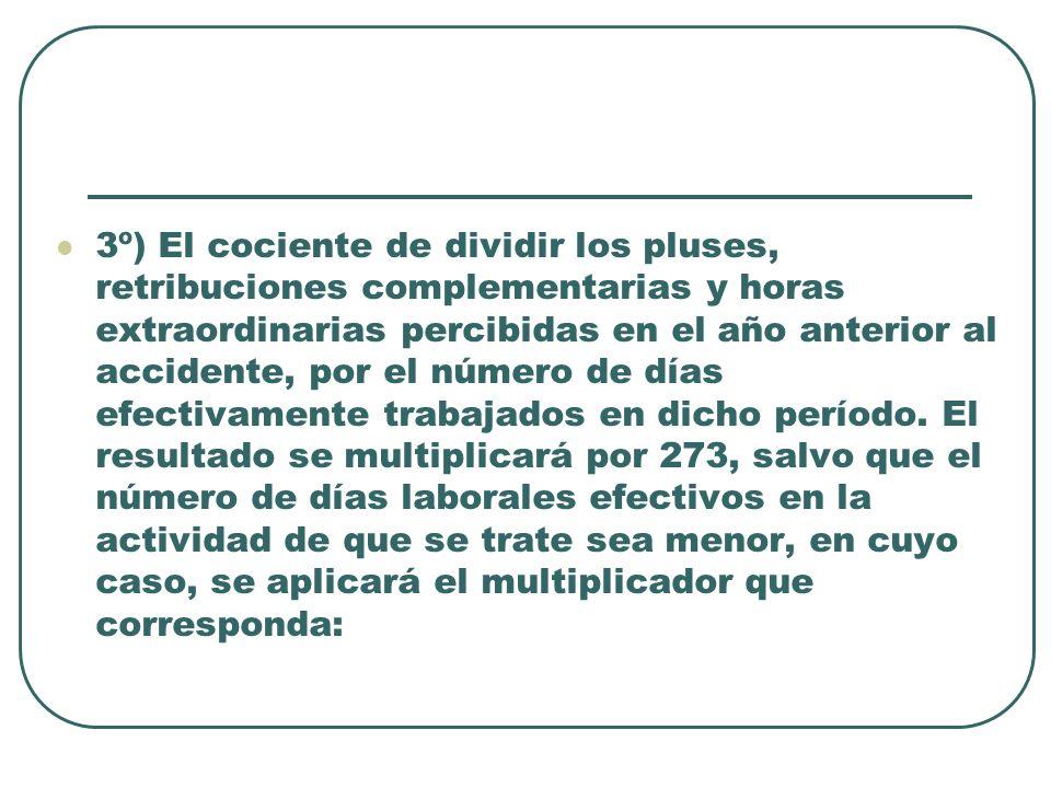 3º) El cociente de dividir los pluses, retribuciones complementarias y horas extraordinarias percibidas en el año anterior al accidente, por el número