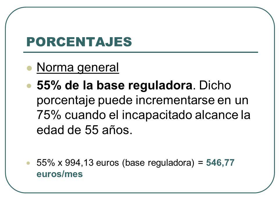 PORCENTAJES Norma general 55% de la base reguladora. Dicho porcentaje puede incrementarse en un 75% cuando el incapacitado alcance la edad de 55 años.