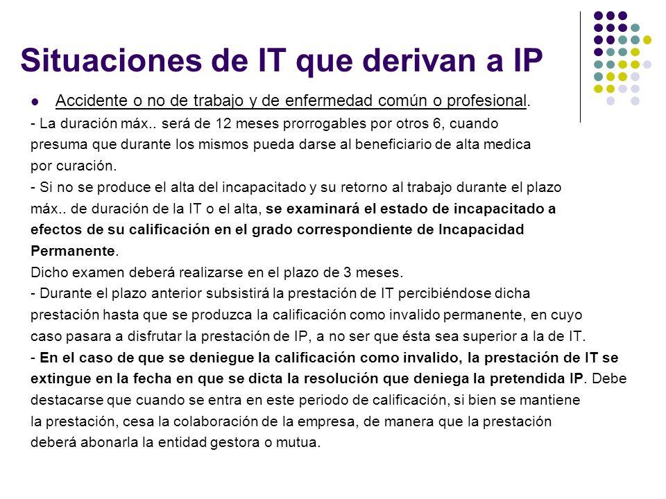 Situaciones de IT que derivan a IP Accidente o no de trabajo y de enfermedad común o profesional.