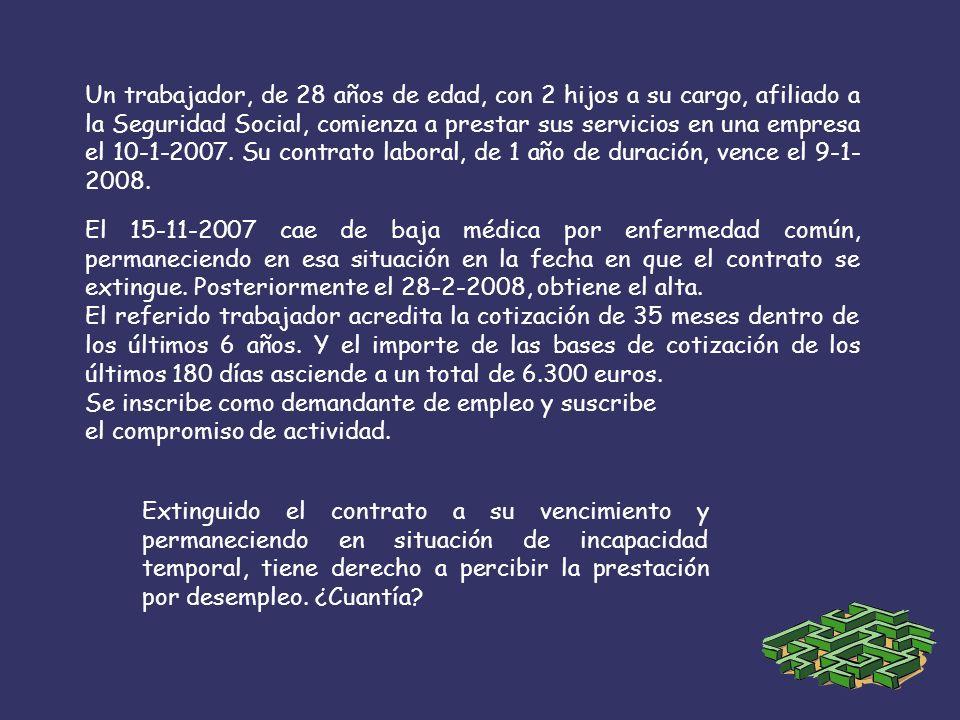 Un trabajador, de 28 años de edad, con 2 hijos a su cargo, afiliado a la Seguridad Social, comienza a prestar sus servicios en una empresa el 10-1-2007.