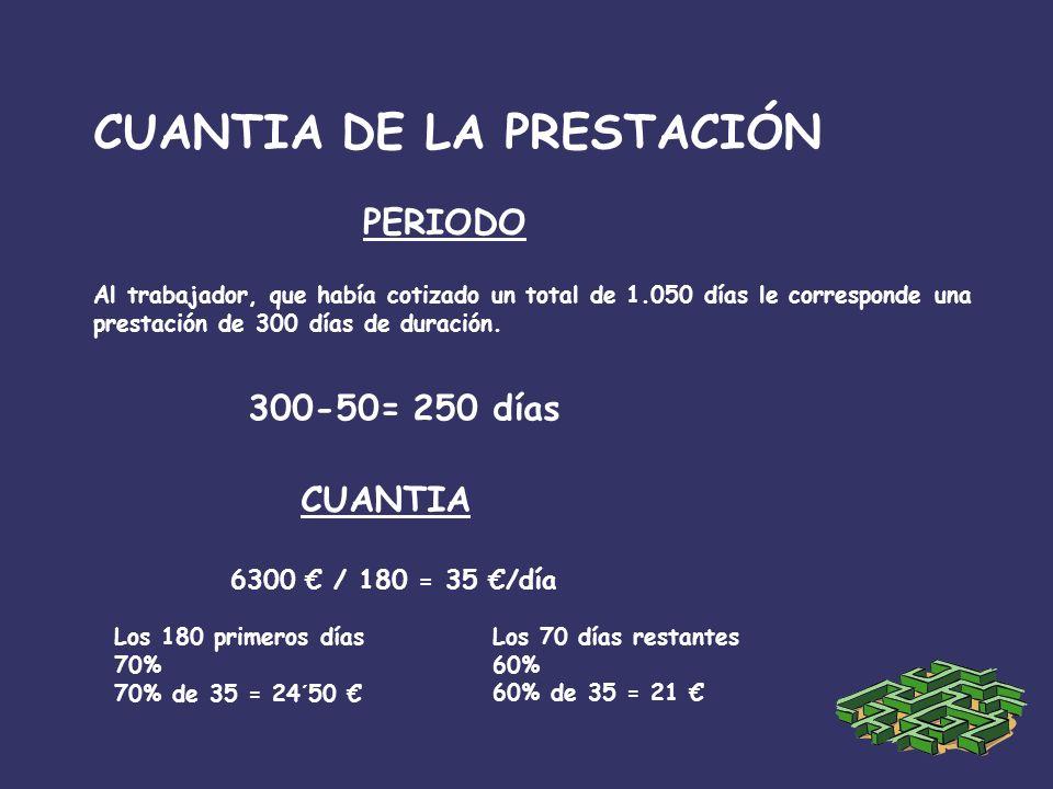 CUANTIA DE LA PRESTACIÓN Al trabajador, que había cotizado un total de 1.050 días le corresponde una prestación de 300 días de duración.
