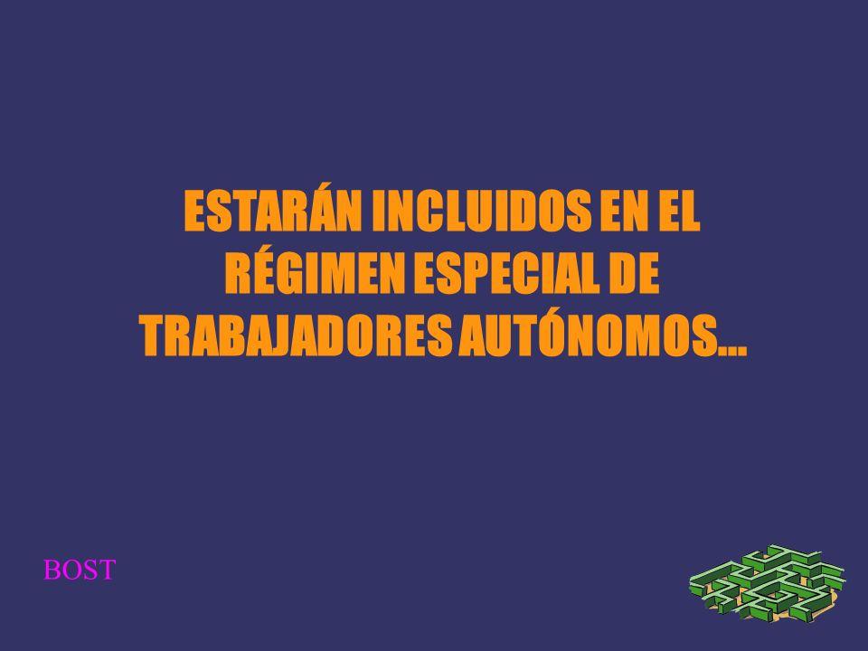 ESTARÁN INCLUIDOS EN EL RÉGIMEN ESPECIAL DE TRABAJADORES AUTÓNOMOS... BOST