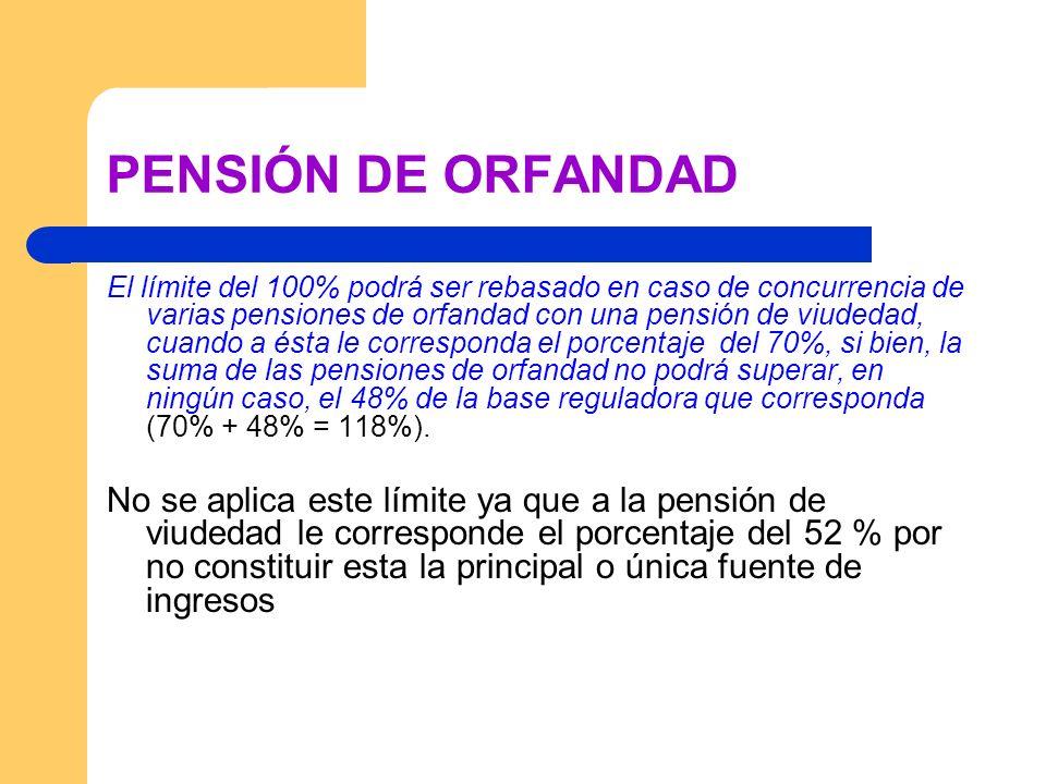 PENSIÓN DE ORFANDAD El límite del 100% podrá ser rebasado en caso de concurrencia de varias pensiones de orfandad con una pensión de viudedad, cuando