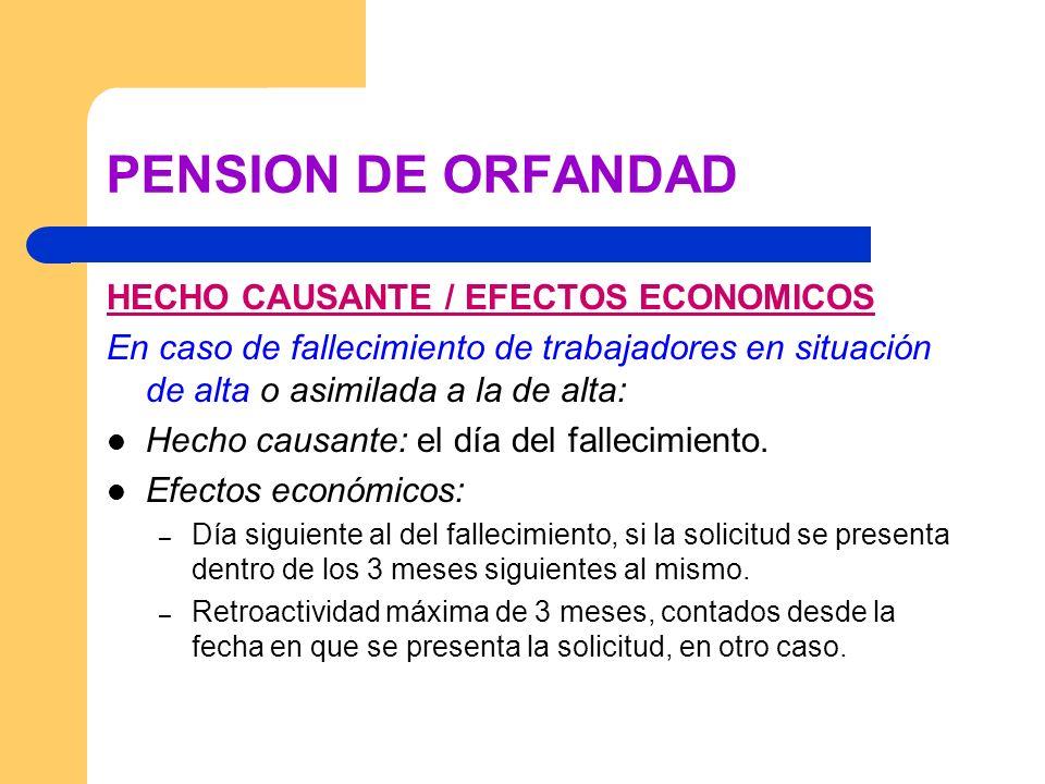 PENSION DE ORFANDAD HECHO CAUSANTE / EFECTOS ECONOMICOS En caso de fallecimiento de trabajadores en situación de alta o asimilada a la de alta: Hecho
