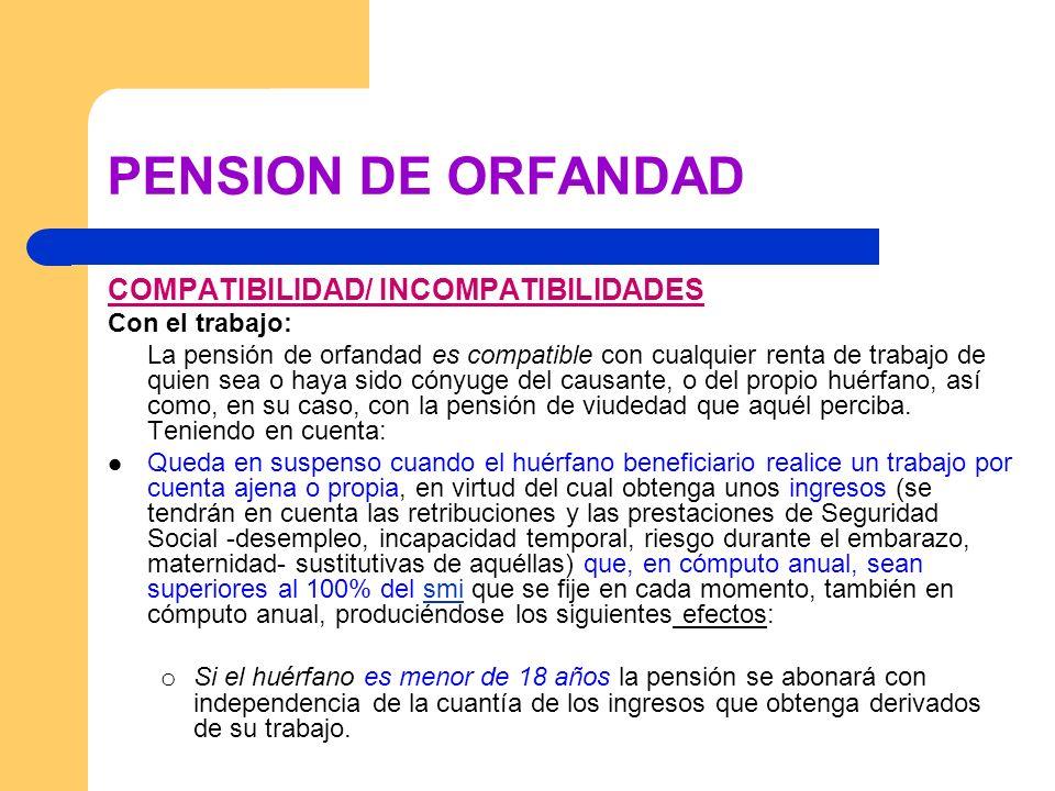 PENSION DE ORFANDAD COMPATIBILIDAD/ INCOMPATIBILIDADES Con el trabajo: La pensión de orfandad es compatible con cualquier renta de trabajo de quien se