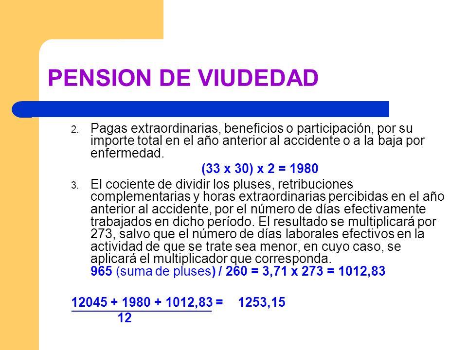 PENSION DE VIUDEDAD 2. Pagas extraordinarias, beneficios o participación, por su importe total en el año anterior al accidente o a la baja por enferme