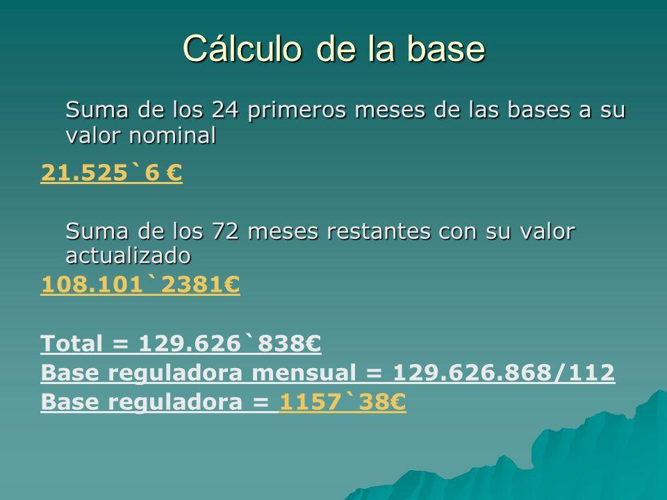 Suma de los 24 primeros meses de las bases a su valor nominal 21.525`6 Suma de los 72 meses restantes con su valor actualizado 108.101`2381 Total = 12