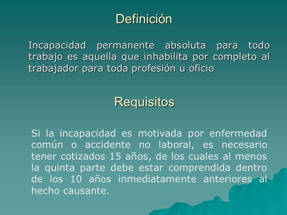 Definición Incapacidad permanente absoluta para todo trabajo es aquella que inhabilita por completo al trabajador para toda profesión u oficio Incapac
