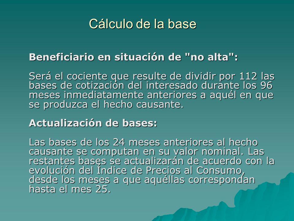Cálculo de la base Beneficiario en situación de