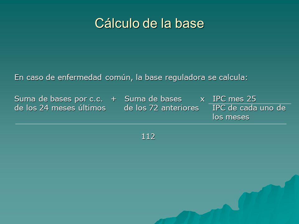 En caso de enfermedad común, la base reguladora se calcula: Suma de bases por c.c. + Suma de bases x IPC mes 25 de los 24 meses últimos de los 72 ante
