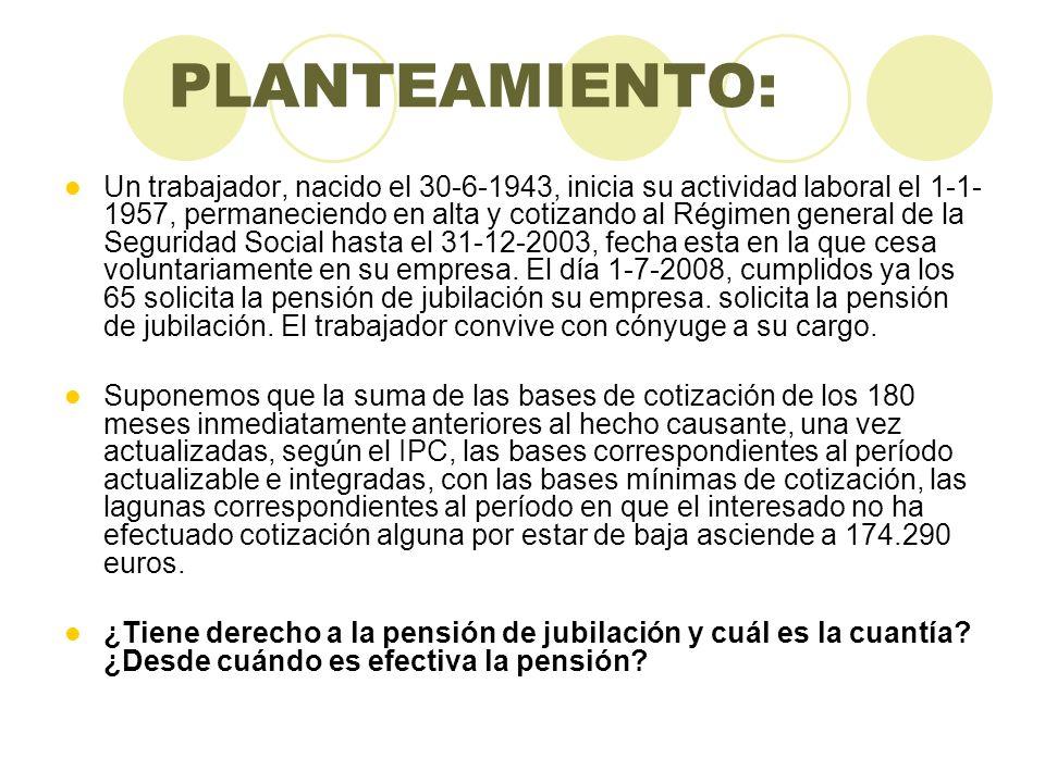 PLANTEAMIENTO: Un trabajador, nacido el 30-6-1943, inicia su actividad laboral el 1-1- 1957, permaneciendo en alta y cotizando al Régimen general de l