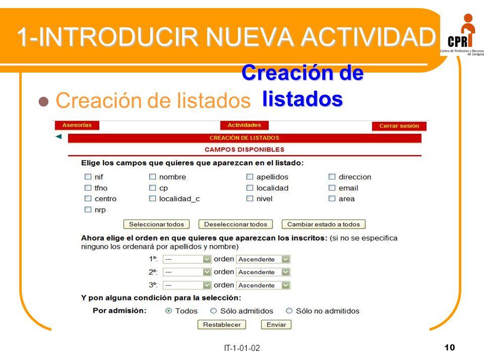 10 1-INTRODUCIR NUEVA ACTIVIDAD Creación de listados