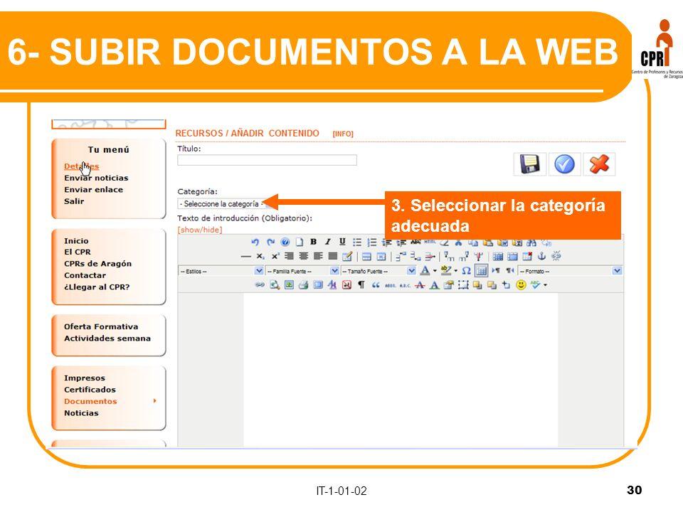 IT-1-01-0230 3. Seleccionar la categoría adecuada 6- SUBIR DOCUMENTOS A LA WEB