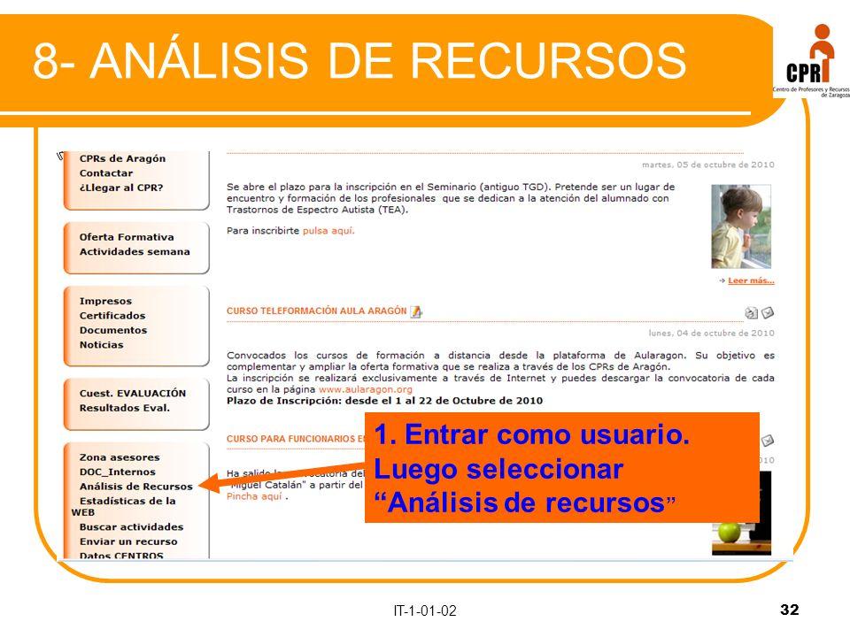 IT-1-01-0232 8- ANÁLISIS DE RECURSOS 1. Entrar como usuario. Luego seleccionar Análisis de recursos
