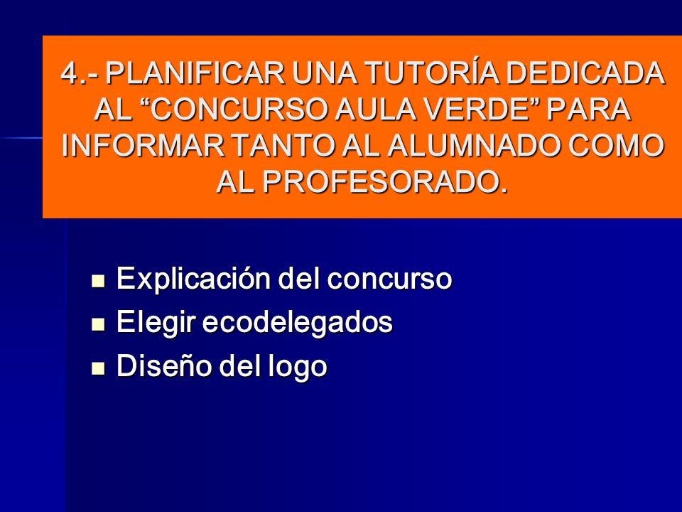 Explicación del concurso Explicación del concurso Elegir ecodelegados Elegir ecodelegados Diseño del logo Diseño del logo 4.- PLANIFICAR UNA TUTORÍA D