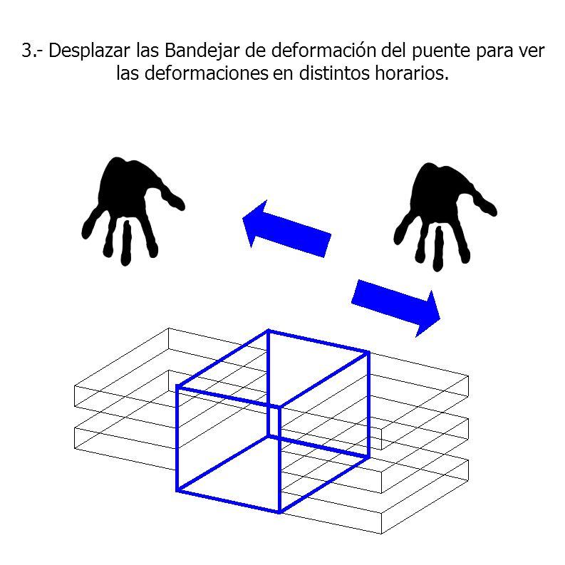 3.- Desplazar las Bandejar de deformación del puente para ver las deformaciones en distintos horarios.