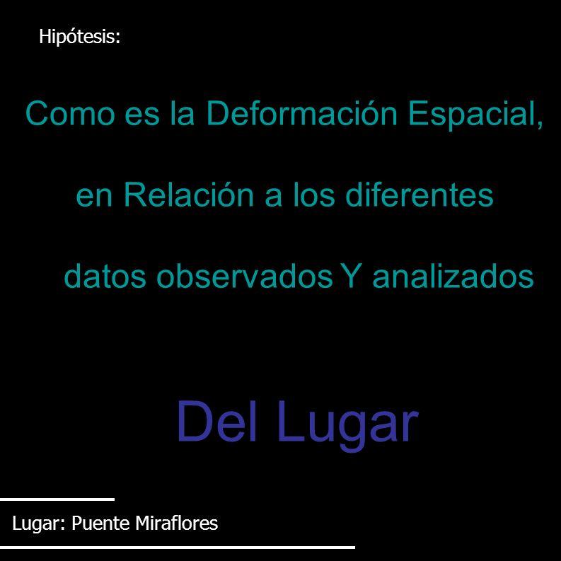 Hipótesis: Como es la Deformación Espacial, en Relación a los diferentes datos observados Y analizados Del Lugar Lugar: Puente Miraflores
