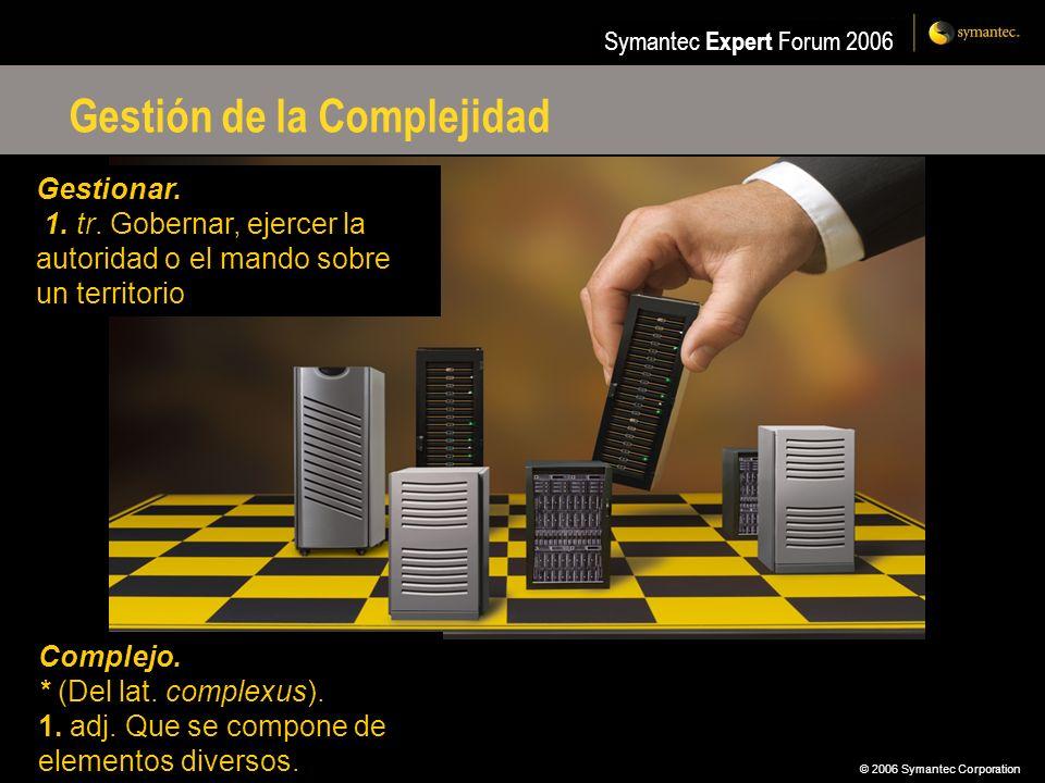 © 2006 Symantec Corporation Symantec Expert Forum 2006 Gestión de la Complejidad Complejo. * (Del lat. complexus). 1. adj. Que se compone de elementos