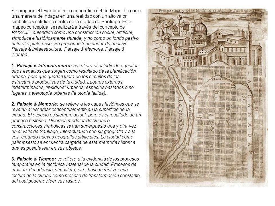 Se propone el levantamiento cartográfico del río Mapocho como una manera de indagar en una realidad con un alto valor simbólico y cotidiano dentro de
