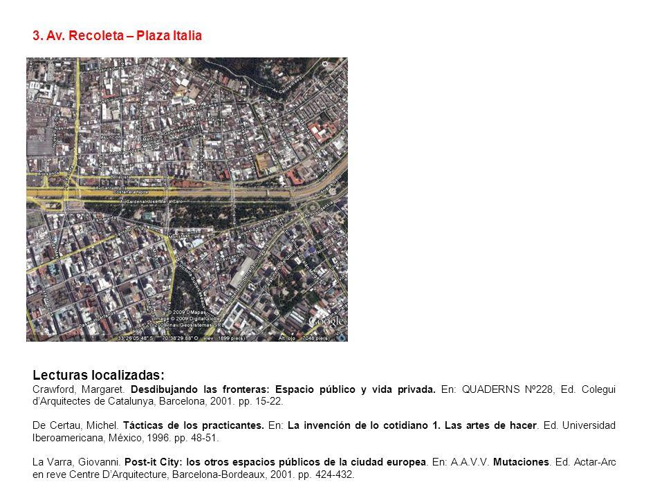 3. Av. Recoleta – Plaza Italia Lecturas localizadas: Crawford, Margaret. Desdibujando las fronteras: Espacio público y vida privada. En: QUADERNS Nº22