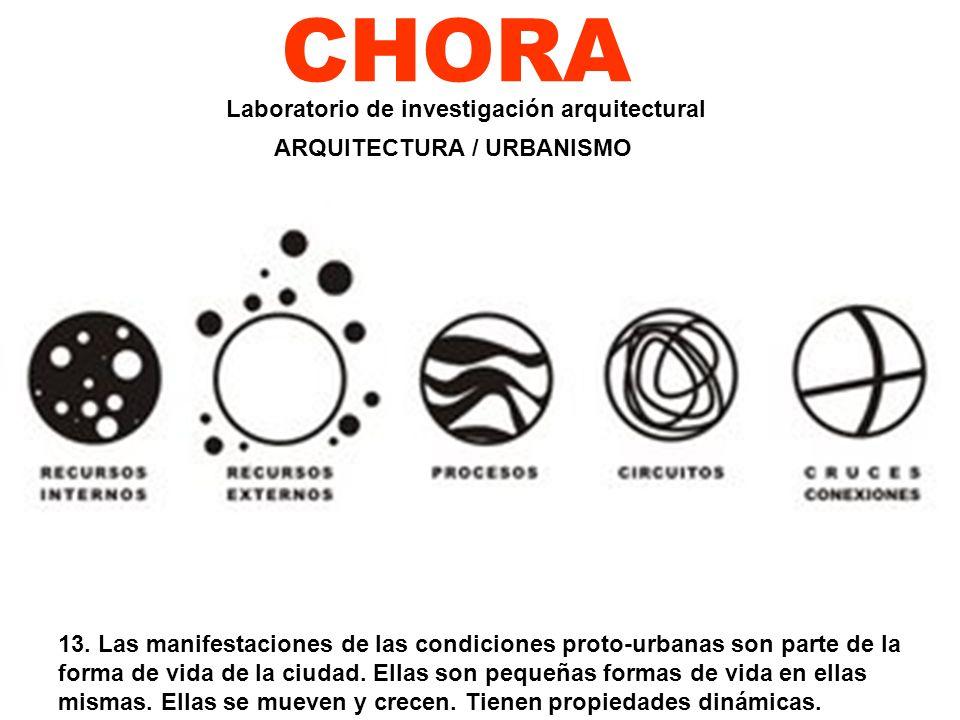CHORA 13. Las manifestaciones de las condiciones proto-urbanas son parte de la forma de vida de la ciudad. Ellas son pequeñas formas de vida en ellas