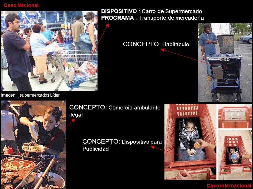 DISPOSITIVO : Carro de Supermercado PROGRAMA : Transporte de mercadería CONCEPTO: Comercio ambulante ilegal Imagen _ supermercados Líder Caso Nacional