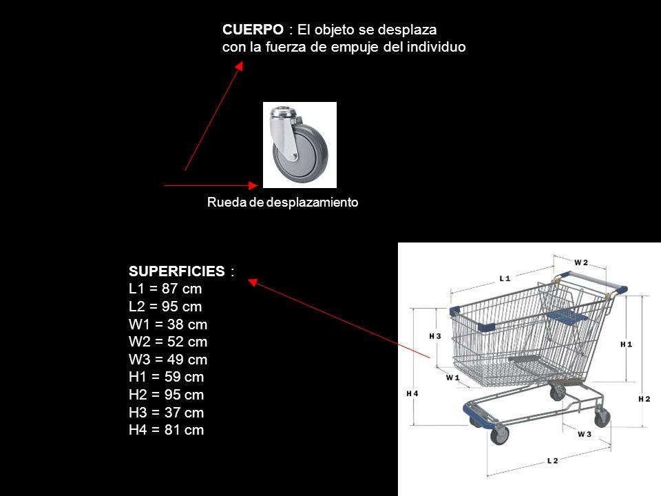 CUERPO : El objeto se desplaza con la fuerza de empuje del individuo Rueda de desplazamiento SUPERFICIES : L1 = 87 cm L2 = 95 cm W1 = 38 cm W2 = 52 cm W3 = 49 cm H1 = 59 cm H2 = 95 cm H3 = 37 cm H4 = 81 cm