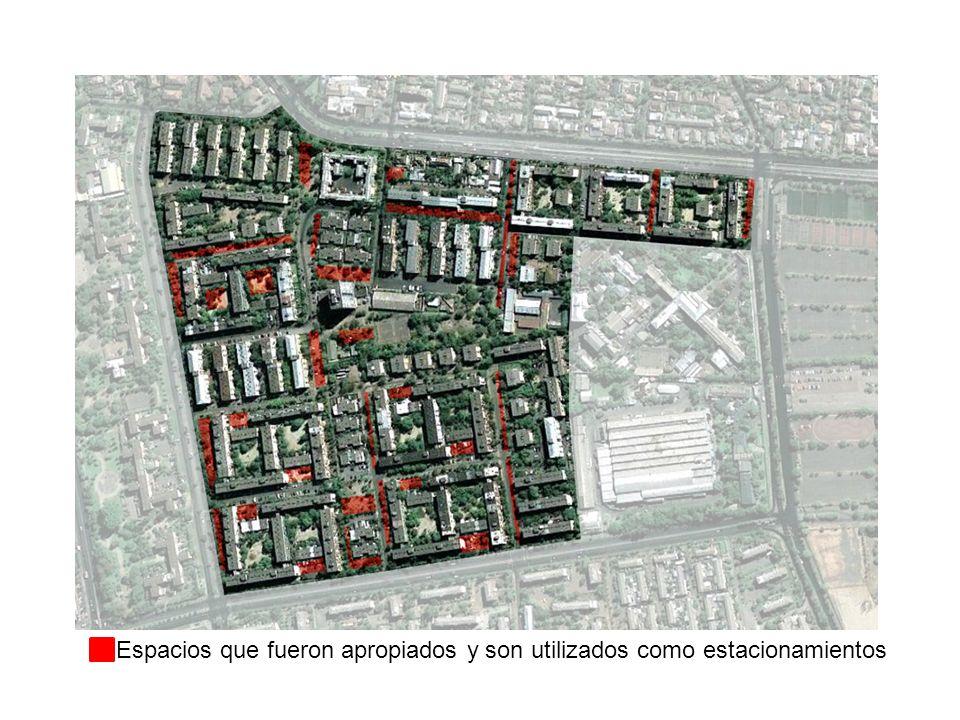 Espacios que fueron apropiados y son utilizados como estacionamientos