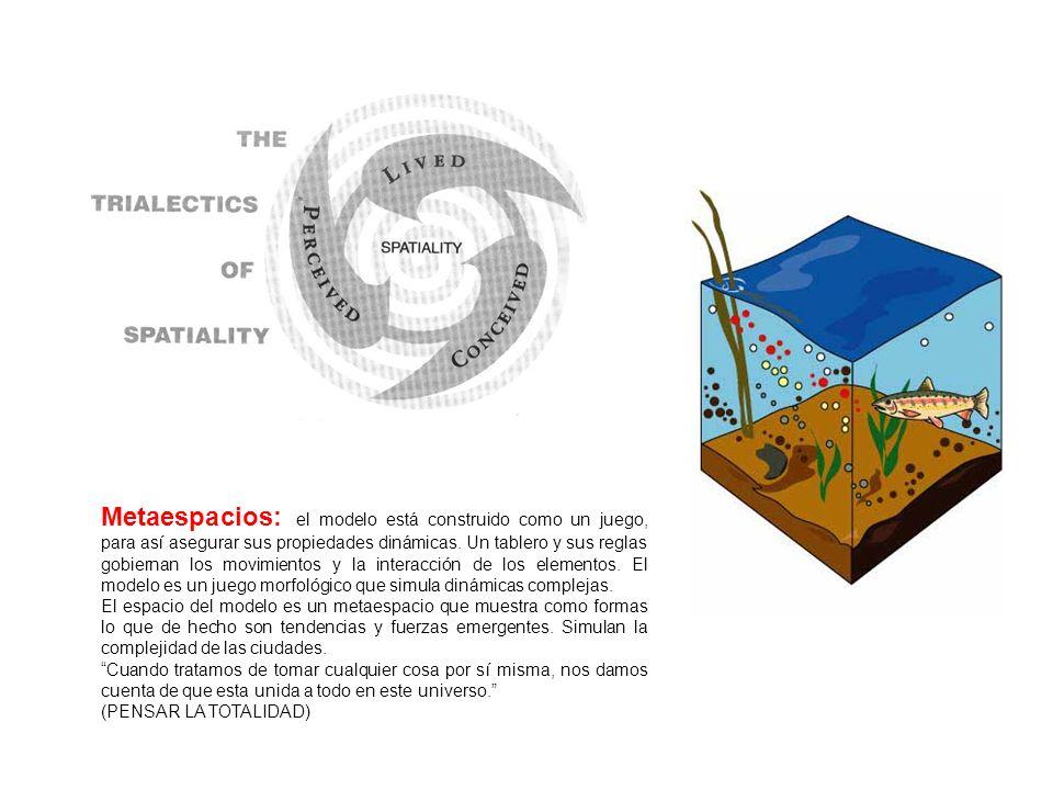Metaespacios: el modelo está construido como un juego, para así asegurar sus propiedades dinámicas. Un tablero y sus reglas gobiernan los movimientos
