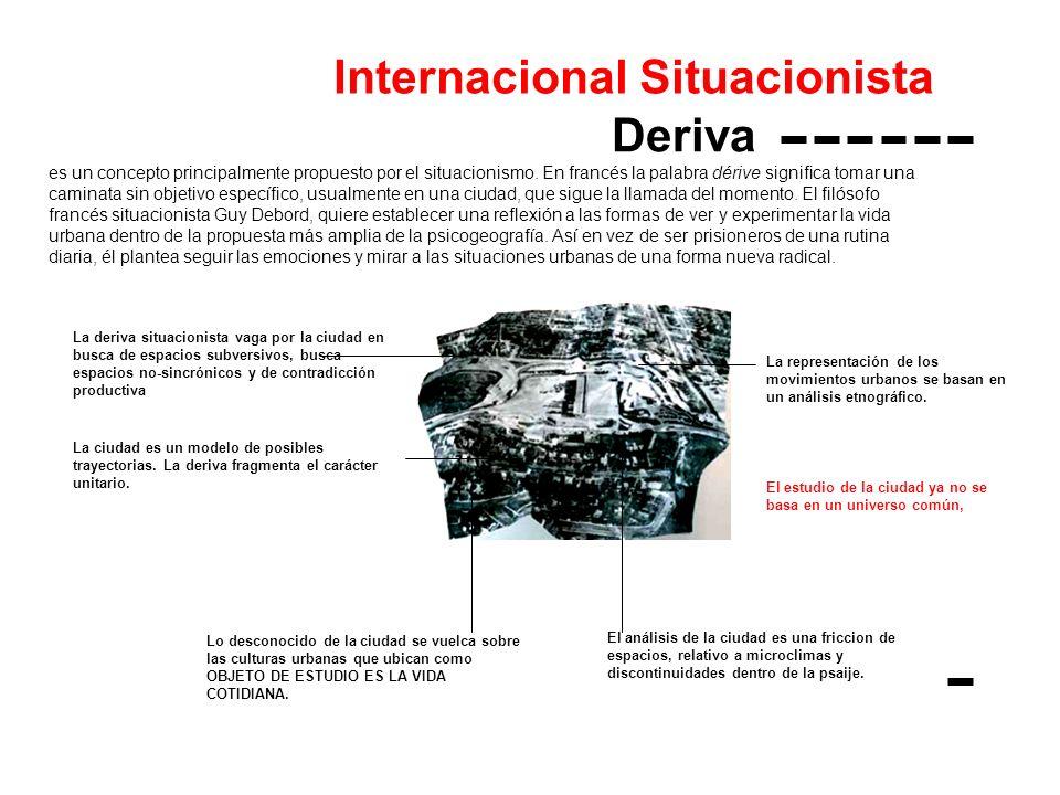 Internacional Situacionista Deriva es un concepto principalmente propuesto por el situacionismo. En francés la palabra dérive significa tomar una cami