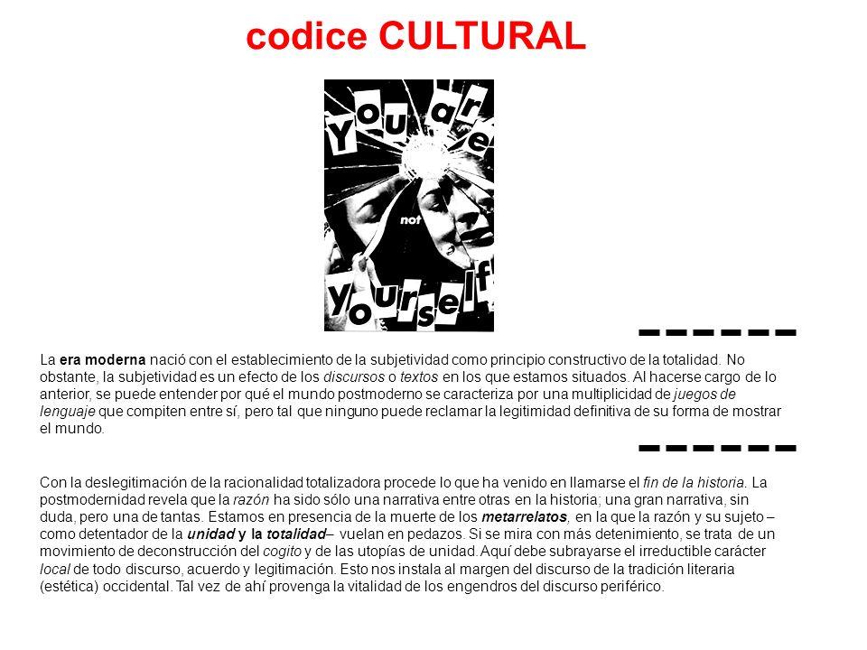codice CULTURAL La era moderna nació con el establecimiento de la subjetividad como principio constructivo de la totalidad. No obstante, la subjetivid