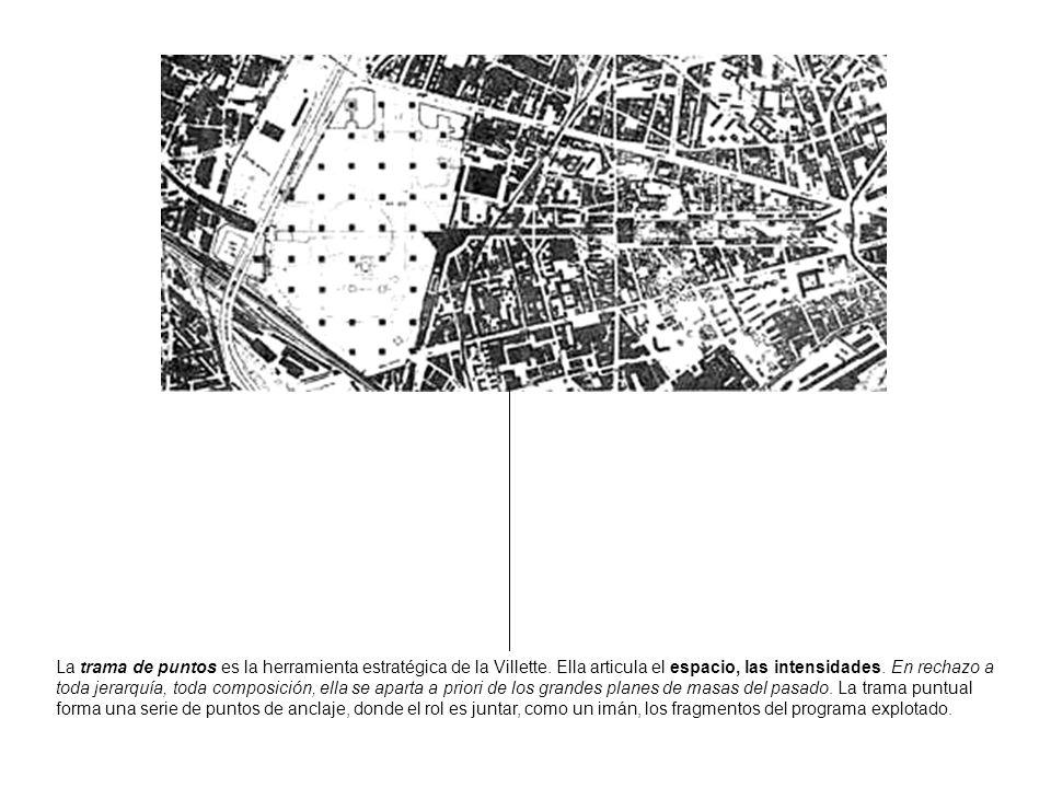 La trama de puntos es la herramienta estratégica de la Villette. Ella articula el espacio, las intensidades. En rechazo a toda jerarquía, toda composi