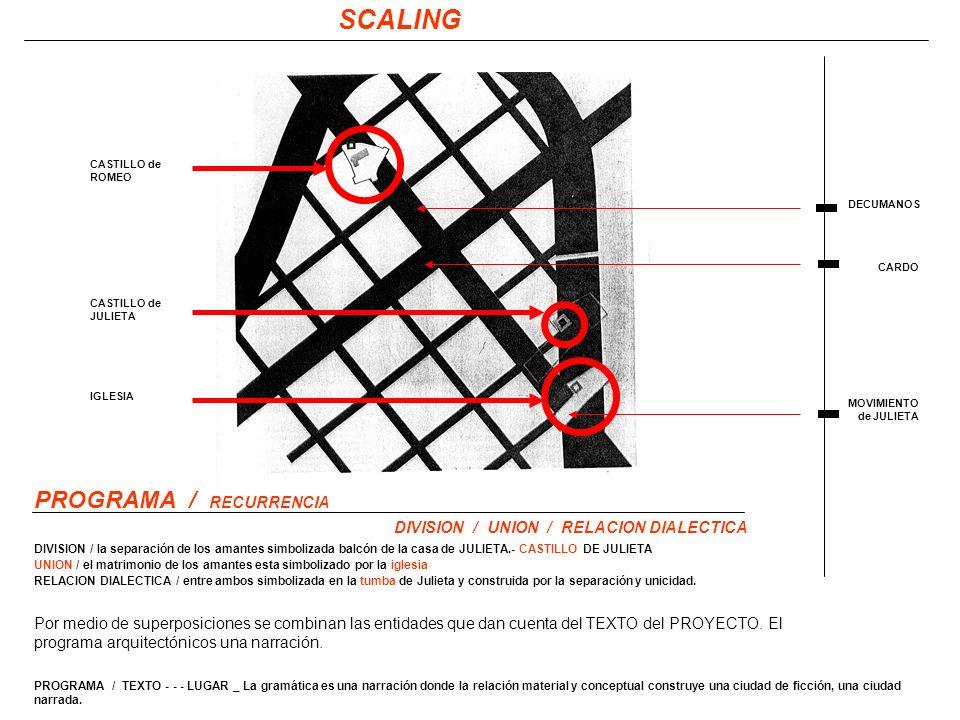 CARDO DECUMANOS MOVIMIENTO de JULIETA SCALING PROGRAMA / RECURRENCIA Por medio de superposiciones se combinan las entidades que dan cuenta del TEXTO del PROYECTO.