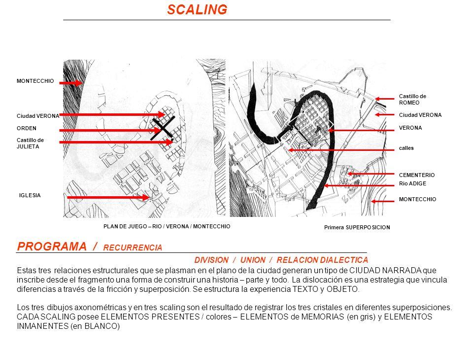 SCALING MONTECCHIO Ciudad VERONA IGLESIA PROGRAMA / RECURRENCIA Los tres dibujos axonométricas y en tres scaling son el resultado de registrar los tres cristales en diferentes superposiciones.