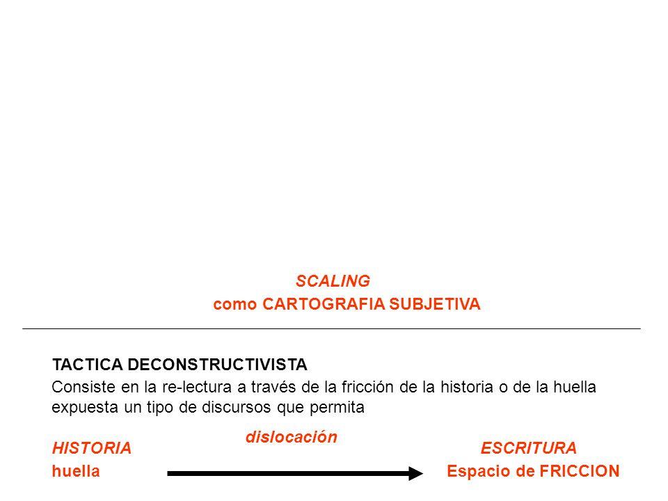SCALING TACTICA DECONSTRUCTIVISTA Consiste en la re-lectura a través de la fricción de la historia o de la huella expuesta un tipo de discursos que permita HISTORIA huella ESCRITURA Espacio de FRICCION como CARTOGRAFIA SUBJETIVA dislocación