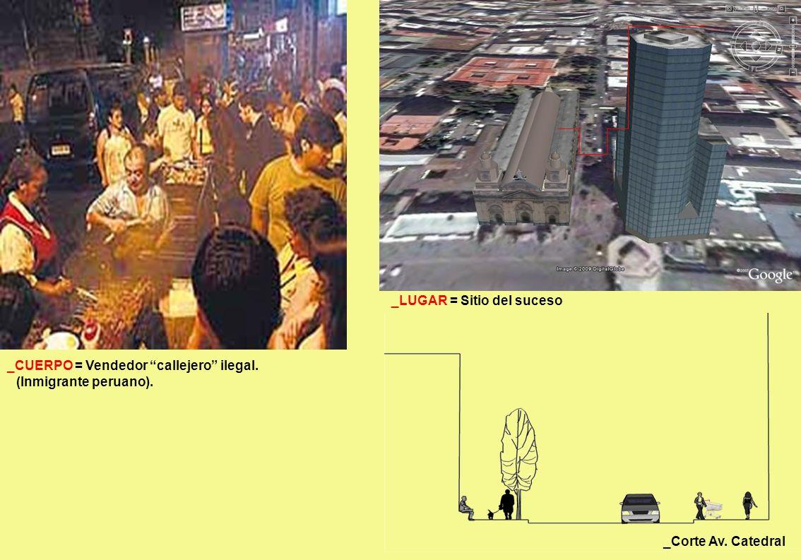 _Corte Av. Catedral _LUGAR = Sitio del suceso _CUERPO = Vendedor callejero ilegal. (Inmigrante peruano).