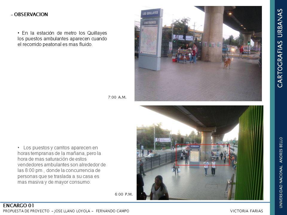 UNIVERSIDAD NACIONAL ANDRES BELLO CARTOGRAFIAS URBANAS ENCARGO 01 PROPUESTA DE PROYECTO - JOSE LLANO LOYOLA - FERNANDO CAMPO VICTORIA FARIAS En la estación de metro los Quillayes los puestos ambulantes aparecen cuando el recorrido peatonal es mas fluido.