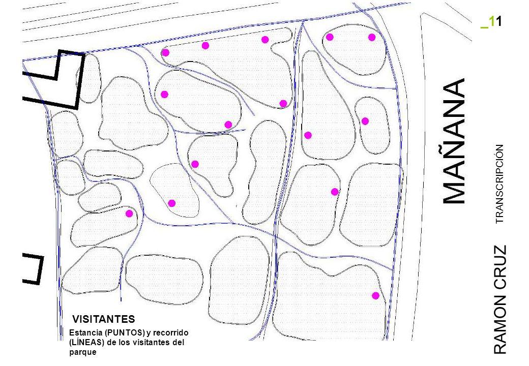 _11 TRANSCRIPCIÓN RAMON CRUZ Estancia (PUNTOS) y recorrido (LÍNEAS) de los visitantes del parque VISITANTES
