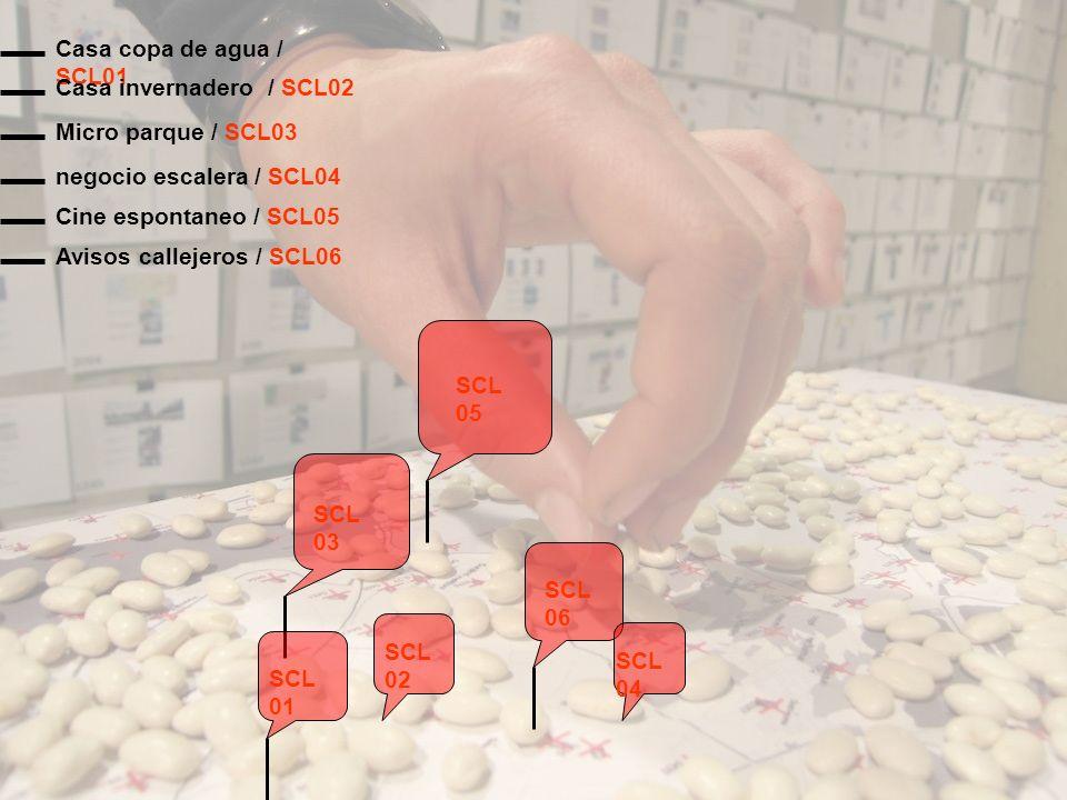Avisos callejeros / SCL06 SCL 01 SCL 02 SCL 03 SCL 04 SCL 05 SCL 06 Cine espontaneo / SCL05 negocio escalera / SCL04 Micro parque / SCL03 Casa copa de