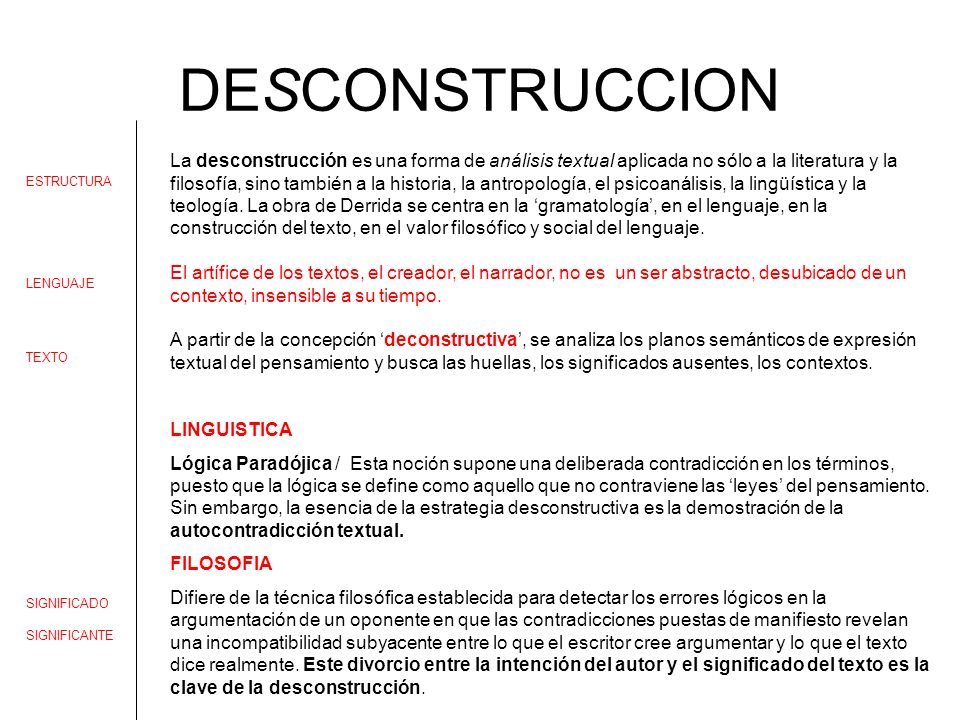 DESCONSTRUCCION La desconstrucción es una forma de análisis textual aplicada no sólo a la literatura y la filosofía, sino también a la historia, la an