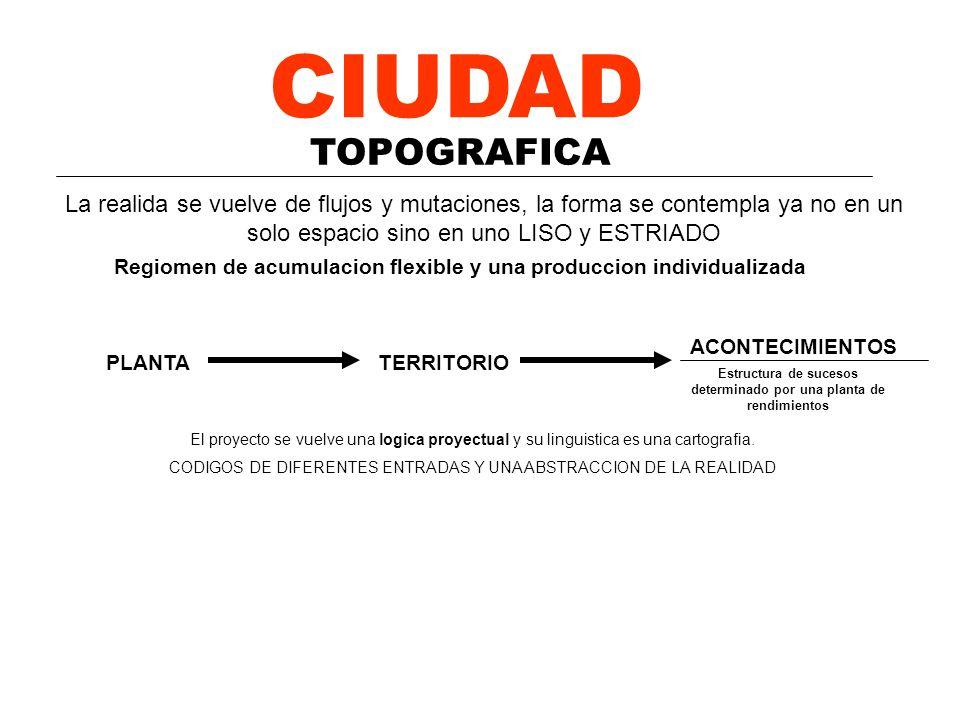 CIUDAD TOPOGRAFICA ANALISIS / PLANTA El proyecto se vuelve una logica proyectual y su linguistica es una cartografia. CODIGOS DE DIFERENTES ENTRADAS Y