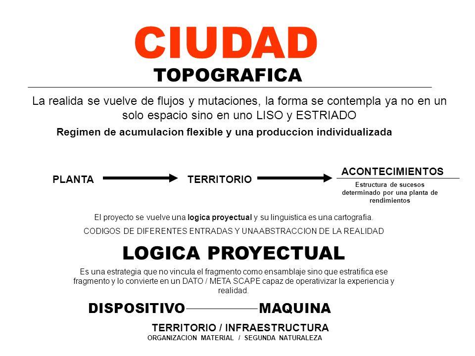 CIUDAD TOPOGRAFICA DISPOSITIVO / PLANTA El proyecto se vuelve una logica proyectual y su linguistica es una cartografia. CODIGOS DE DIFERENTES ENTRADA