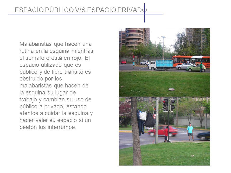 ESPACIO PÚBLICO V/S ESPACIO PRIVADO Malabaristas que hacen una rutina en la esquina mientras el semáforo está en rojo. El espacio utilizado que es púb