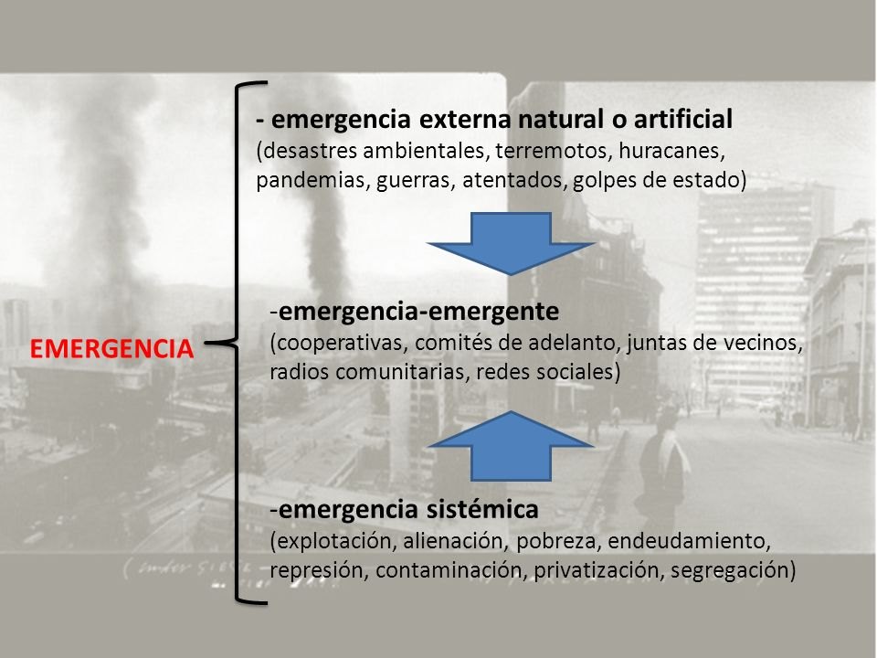 EMERGENCIA - emergencia externa natural o artificial (desastres ambientales, terremotos, huracanes, pandemias, guerras, atentados, golpes de estado) -